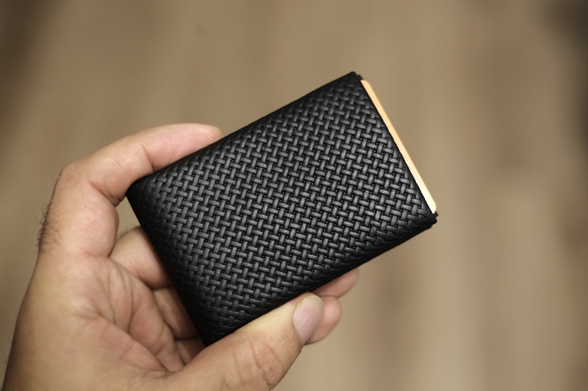 02 Design Pattern Leather - FULL RFID protection - NERO Minimalist Wallet