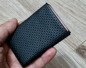 01 Design Pattern Leather -  FULL RFID protection - NERO Minimalist Wallet