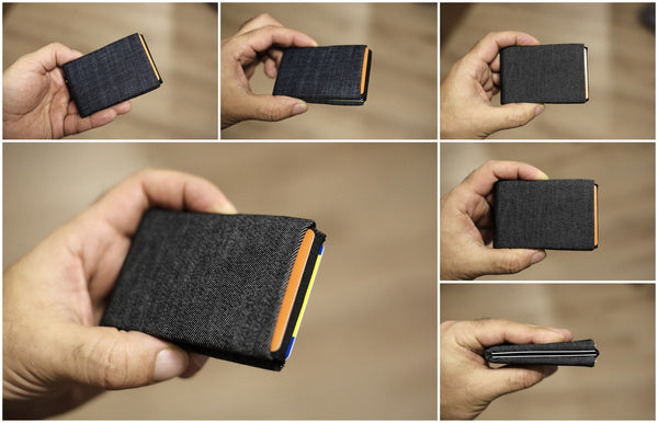 Minimalist Wallets, RFID Blocking Wallets, NERO Denim Wallet - 4 RFID protected pockets for credit cards and 1 RFID pass - NERO Minimalist Wallet