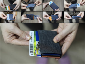 Vegan Denim - Minimalist Wallet - RFID protection 4 +1 - NERO Minimalist Wallet