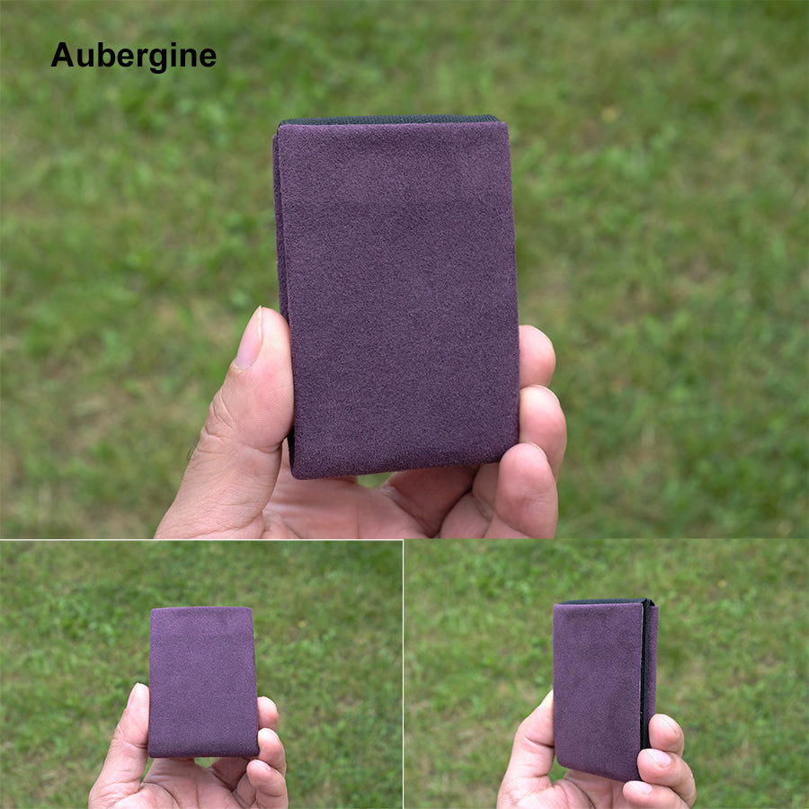 Aubergine Alcantara® Minimalist Wallet - RFID Blocking Wallet - Limited Edition - NERO Minimalist Wallet