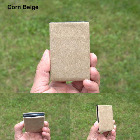 Corn Beige Alcantara® Minimalist Wallet - RFID Blocking Wallet - Limited Edition - NERO Minimalist Wallet