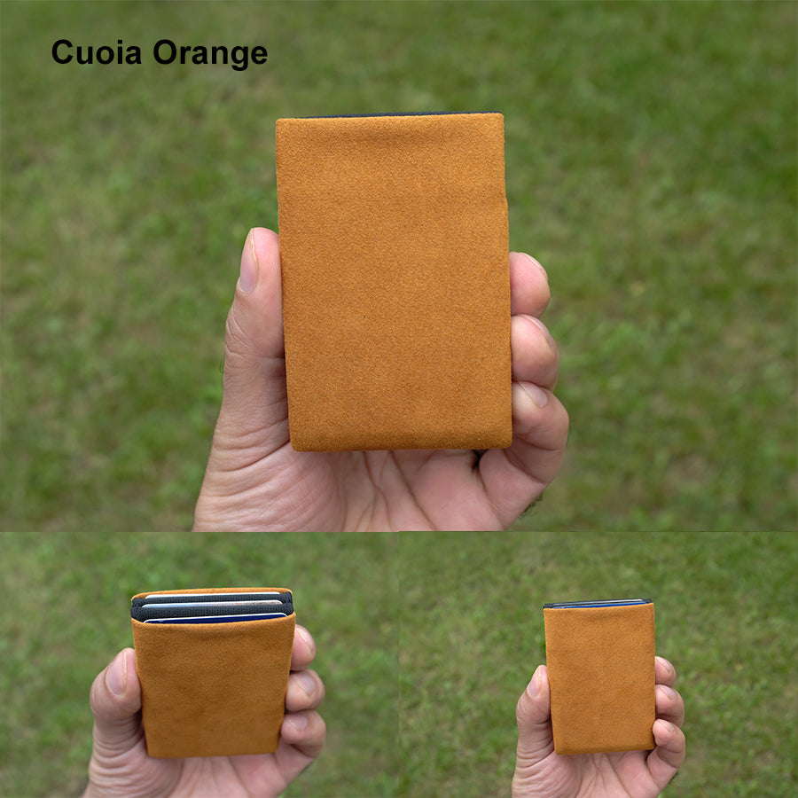 Cuoia Orange Alcantara® Minimalist Wallet - RFID Blocking Wallet - Limited Edition - NERO Minimalist Wallet