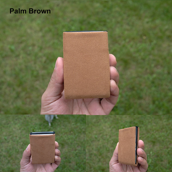 Palm Brown Alcantara® Minimalist Wallet - RFID Blocking Wallet - Limited Edition - NERO Minimalist Wallet