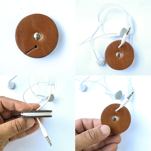 Personalized Leather Cable Organizer, Earphone Holder, Headphone Holder, Leather Cord Holder, Cord Keeper, iPhone Cord Wrap - NERO Minimalist Wallet