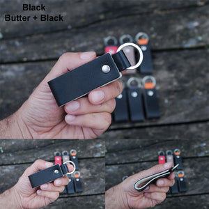 Leather Keychain - Slim Key Holder - Double Colors - NERO Minimalist Wallet