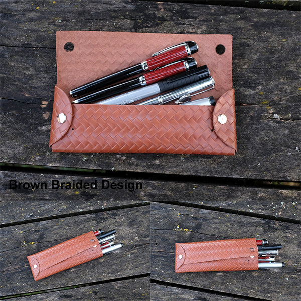 Mens Pen Case Personalized, Distressed Leather Custom Pencil Case, Personalized Pen Holder, Monogram Pencil Case Pouch - Minimalist Pencil Case - NERO Minimalist Wallet