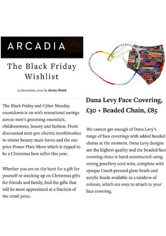 Arcadia Magazine featuring Dana Levy Lucky Charms Friendship Bracelets Face Covering and Personalised Mask Chain