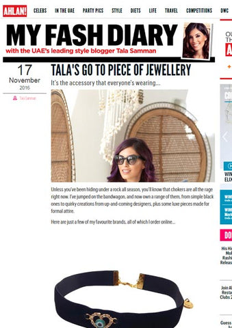 Ahlan! Magazine Tala Samman Wearing Dana Levy Diamante Evil Eye Horseshoe Choker