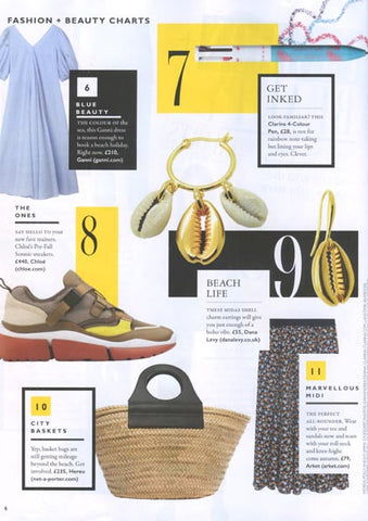 Grazia Magazine Featuring Dana Levy Midas Seashell Charm Trio Mini Hoop and Wire Earrings