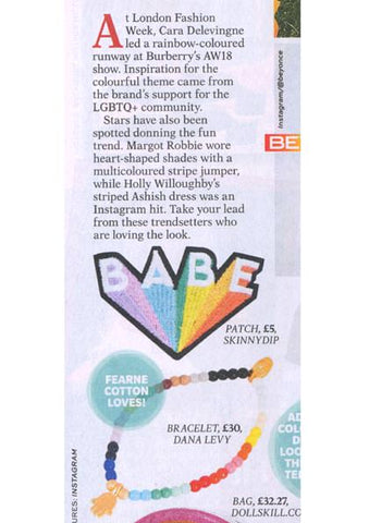 Dana Levy Mini Hamsa Hand Charm Rainbow Glass Bead Bracelet featured in Reveal Magazine
