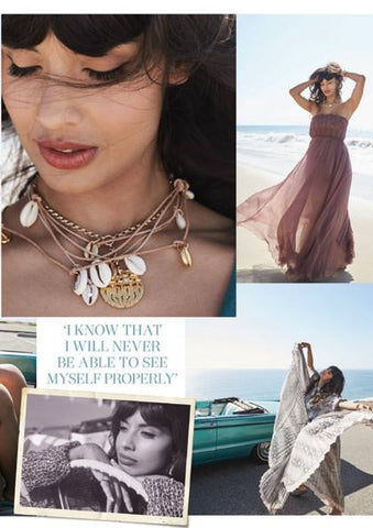 Jameela Jamil wearing Dana Levy Aphrodite Seashell Charms Leather Cord Necklace in Red Magazine