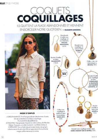 Elle Magazine France featuring Dana Levy Cowrie Shell Charm Beaded Choker