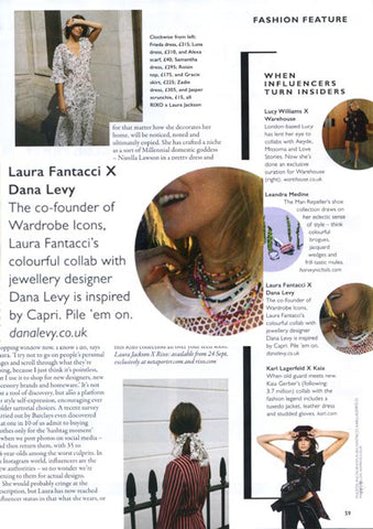 Grazia Magazine Featuring Laura Fantacci x Dana Levy Beaded Necklaces
