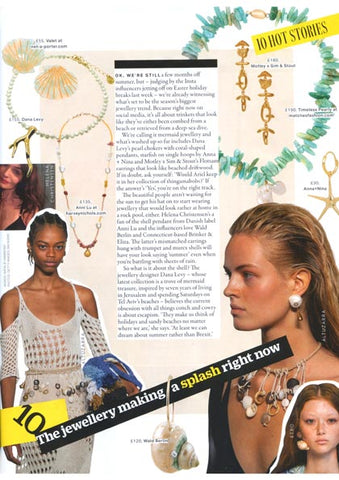 Grazia UK Magazine featuring Dana Levy's Coral Charm Freshwater Pearl Choker