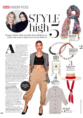Hello! Magazine featuring Dana Levy Personalised Name Alphabet Gemstone Bead Bracelet