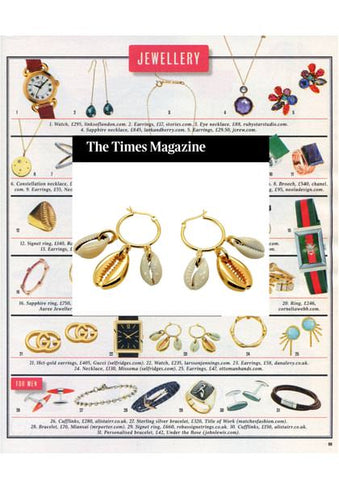 Times Magazine Christmas Gift Guide Featuring Dana Levy Midas Seashell Charm Hoop Earrings