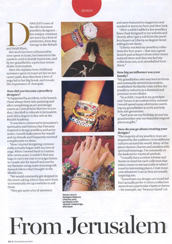 Jewish Chronicle JC Magazine Rosh Hashana Featuring Dana Levy Jewellery
