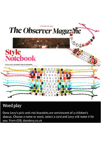 The Observer Magazine Featuring Dana Levy Maxi DIY Personalised Name Abacus Cord Bracelet