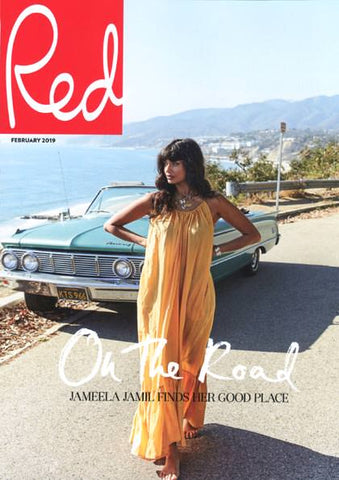 Jameela Jamil wears Dana Levy  Aphrodite Seashell Charms Leather Cord Necklace on the cover of Red Magazine