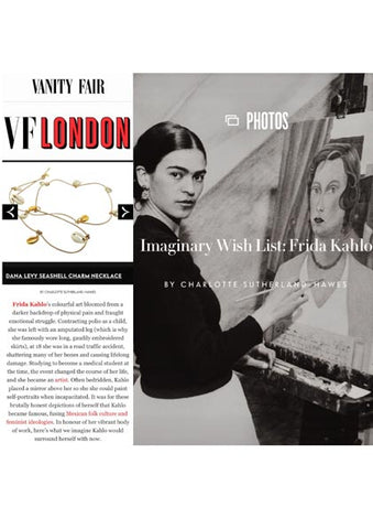 Vanity Fair Frida Kahlo Wish List Featuring Dana Levy Aphrodite Seashell Leather Cord Necklace