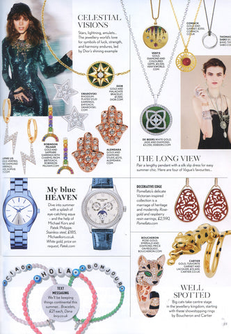 Vogue Magazine featuring Dana Levy Hello Greeting Alphabet Glass Bead Bracelets