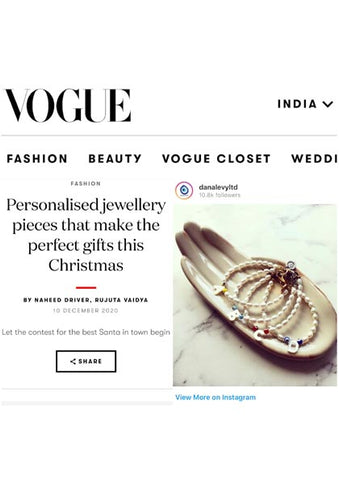 Vogue India Featuring Dana Levy Mother of Pearl Initial Alphabet Charm Freshwater Pearl Rainbow Bracelet