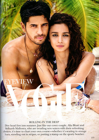 Vogue India Magazine Alia Bhatt & Sidarth Malhotra Wearing Dana Levy Friendship Bracelets
