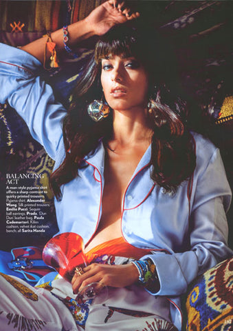 Vogue India Magazine Featuring Dana Levy Lima Pompom Beaded Cord Bracelet