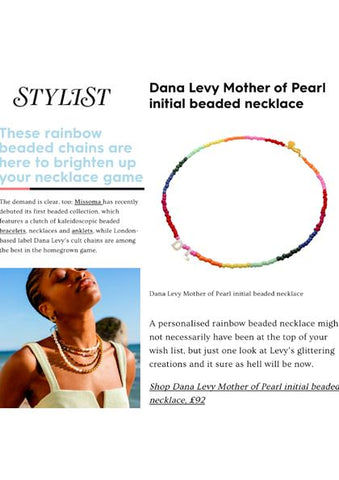 Dana Levy Mother of Pearl Shell Initial Alphabet Letter Duo Ombre Beaded Necklace