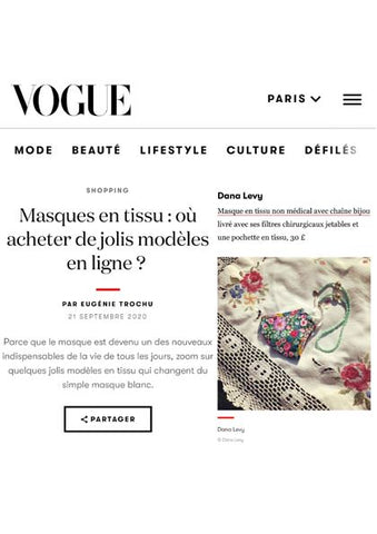 Vogue.fr featuring Dana Levy's floral meadow face covering and retro floral beaded face covering chain