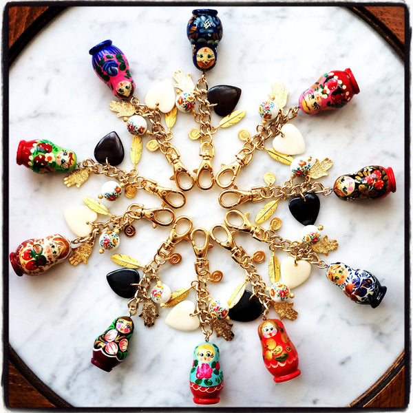 liuba matryoshka russian doll bag charm levy ltd