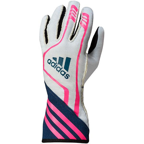 ADIDAS RSR RACE GLOVES - WHITE/NAVY/FLUO PINK