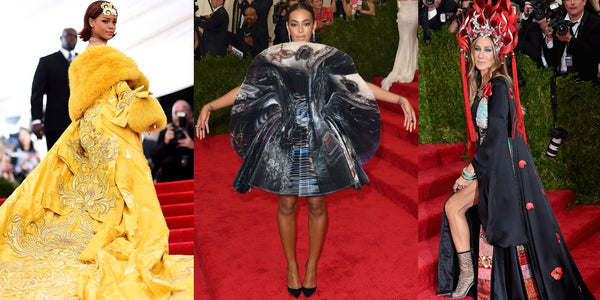Rihanna in long yellow gown, Solange in circular dress, Sarah Jessica Parker in long black dress with elaborate headpiece.