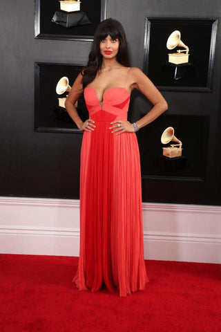 Jameela Jamil on Grammy Red Carpet wearing long chiffon gown