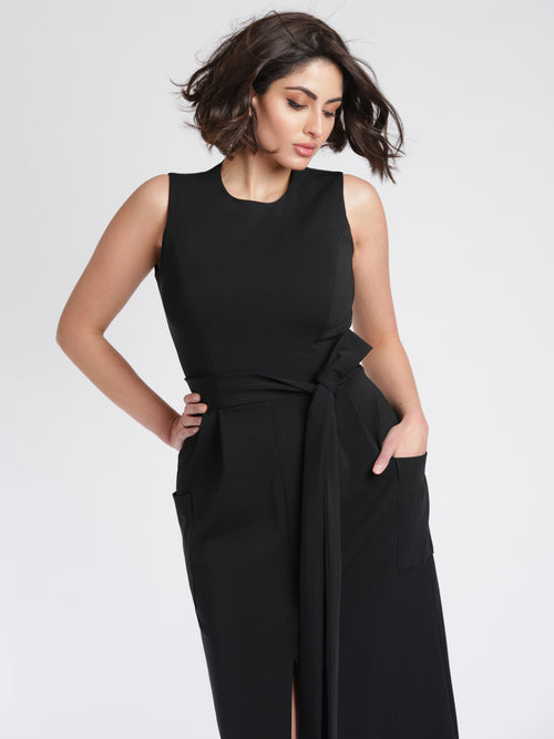 Audrey Dress front detail black.