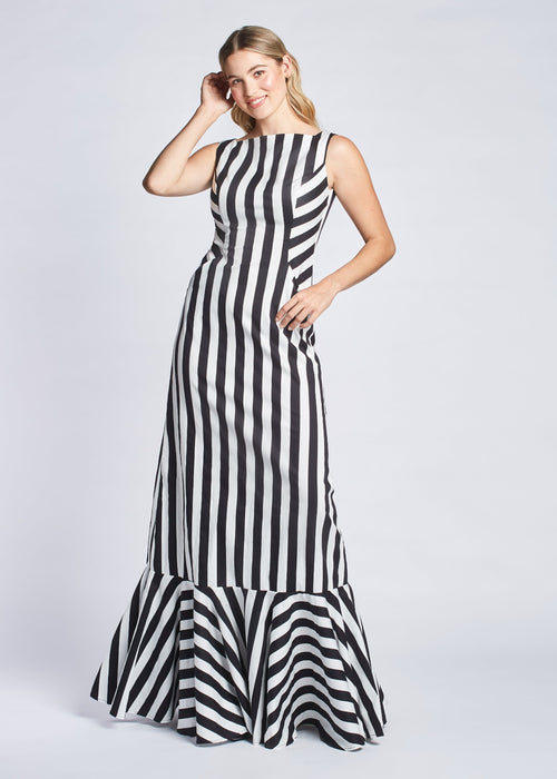 Colette gown dress stripe front view.