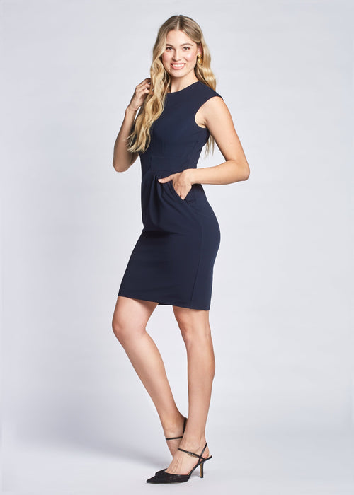 Jennifer dress navy side view.