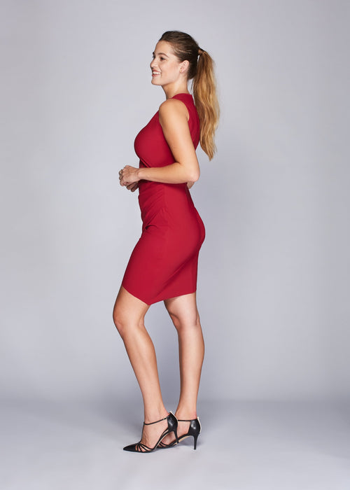 Michele dress red side view.