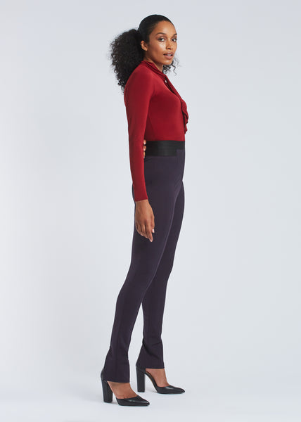 Cindy trousers dark plum side view.