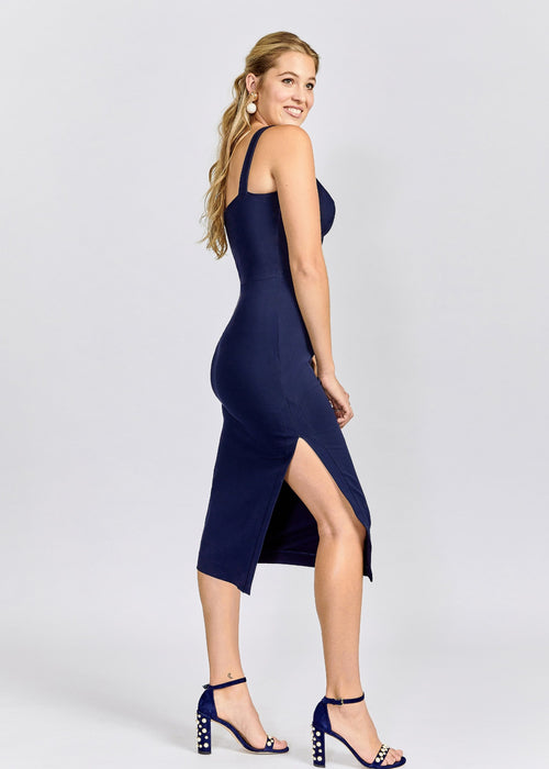 Amber dress navy side right view.