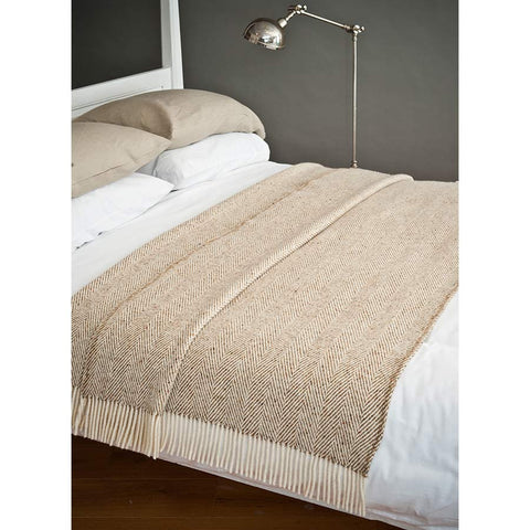 Avoca Heavy Herringbone Throw Digestive