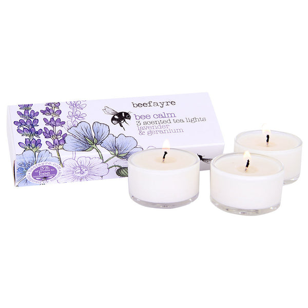 Beefayre Bee Calm Lavender & Geranium Scented Glass Tea Lights