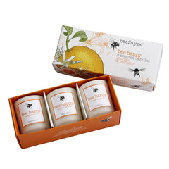 Beefayre Bee Happy Orange & Jasmine Votive Candle Gift Set