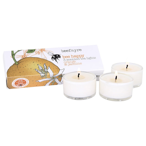 Beefayre Bee Happy Orange & Jasmine Scented Glass Tea Lights