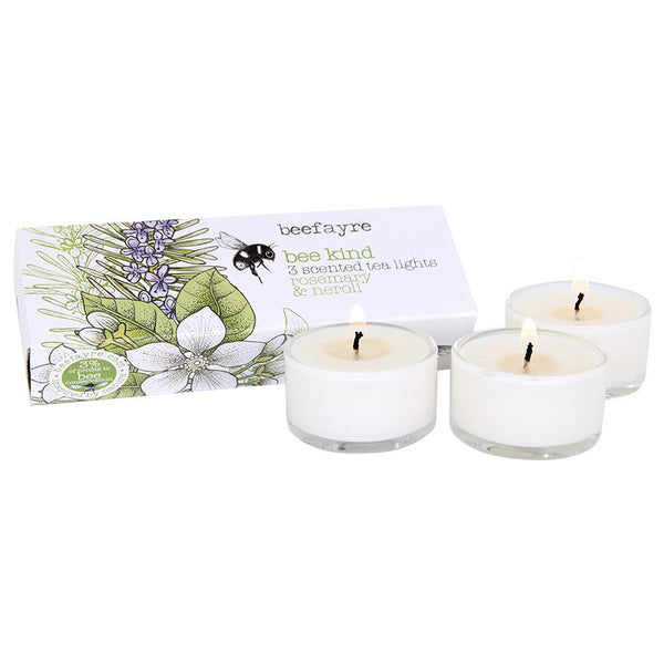 Beefayre Bee Kind Rosemary & Neroli Scented Glass Tea Lights