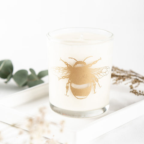Beefayre large candle with bee print