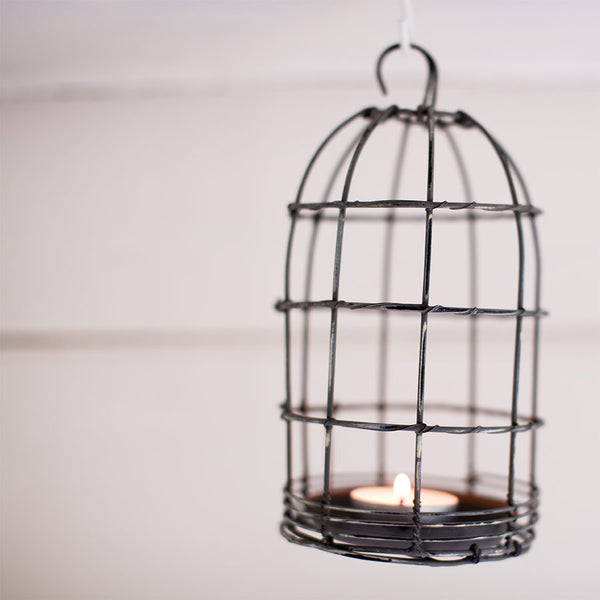 Nkuku Bird Cage Tea Light - Distressed Grey