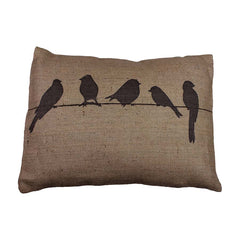 Helkat Cushion Bird On A Wire - Linen Hessian 43x33cm