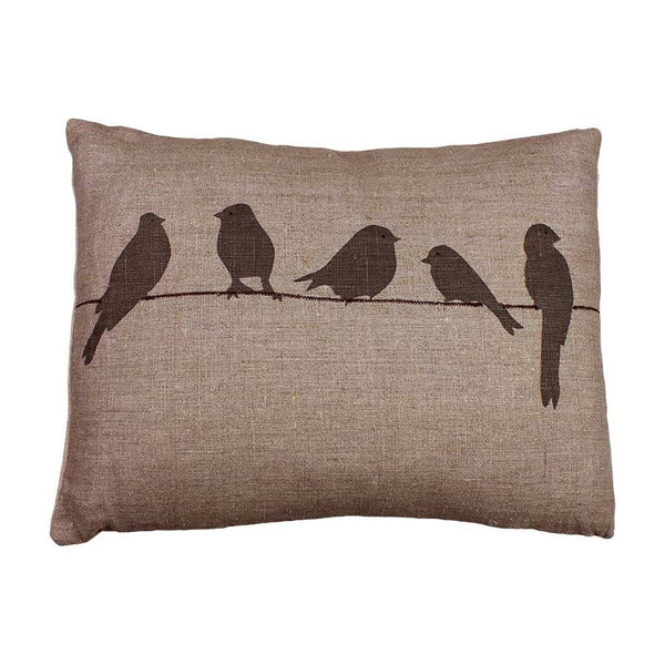 Helkat Cushion Bird On A Wire - Loomstate Linen 43x33cm